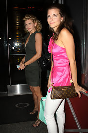 Rachel Mccord enjoyed a night out carrying a chic Louis Vuitton shoulder bag.