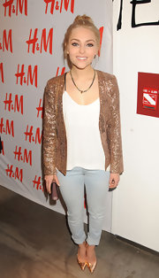 AnnaSophia Rob added some sparkle to her casual look with a slim-fit jacket with sequins while at the H&M Denim Days launch.