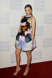 Jessica McNamee paired her silk watercolor dress perfectly with a pair of nude peep toe platforms.