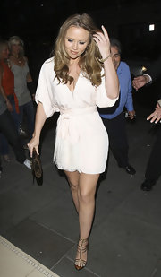 Kimberley Walsh was head-to-toe sexy in her mini dress and gold strappy sandals.