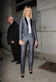 Anja Rubik sported a busy ensemble at the 2012 Angel Ball, consisting of a patterned pantsuit and a print blouse.