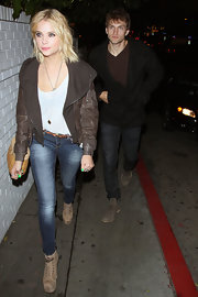 Ashley Benson stepped out for an evening at the Chateau Marmont wearing a pair of tan suede ankle booties.