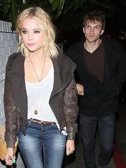 Keegan Allen wore a comfy suede jacket while out with Ashley Benson in Hollywood.
