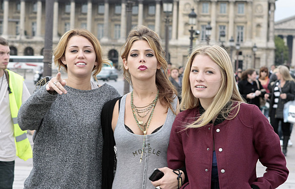 Miley Cyrus and Ashley Greene in Paris