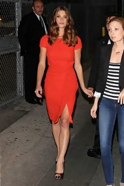 Ashley Greene looked flawless in this orange cap-sleeve cocktail dress en route to 'Jimmy Kimmel Live.'