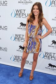 Audrina Patridge stepped into a pair of tan leather sandals while celebrating her birthday at Wet Republic.