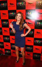 Audrina Patridge topped off her fitted frock with platform sandals.