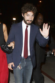 Shia LaBeouf paired a navy blazer with jeans for the premiere of 'Born Villain.'