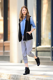 Behati kept her look casual and relaxed with a zip-up hoodie and sweats.