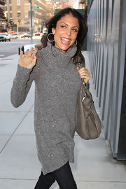 Bethenny Frankel bundled up outside 'Good Morning America' in a long gray turtleneck.