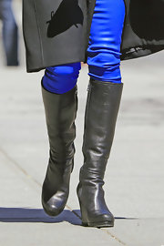 Bethenny Frankel hit the streets of NYC sporting these cool knee-high boots.