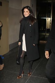 Bethenny Frankel arrived for an appearance on the 'Today' show wearing ultra-shiny bronze pumps.