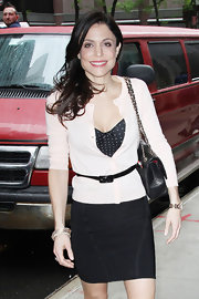 Bethenny Frankel did a sweet-meets-sexy look in this polka-dot bustier dress and cream cardigan.