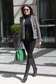 Bethenny Frankel went out for lunch in NYC wearing her hair sleek and smooth.