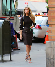 A black leather pencil skirt gave Blake Lively a super chic and classic look while on a photo shoot in NYC.