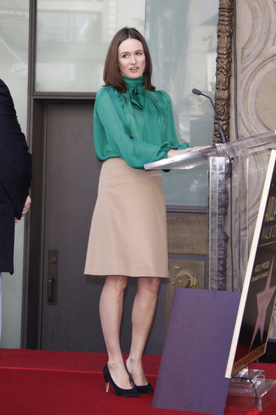 Emily Mortimer opted for a secretary chic style at the Walk of Fame in a tan a-line skirt.