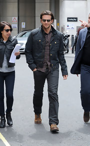 We're totally digging Bradley Cooper's rugged utility jacket!