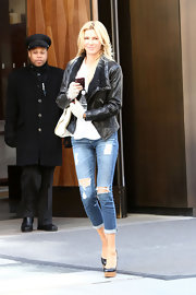 Brandi Glanville sported this black leather jacket with fleece trim on the lapels while out in New York City.