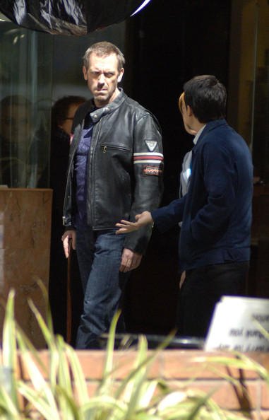 Hugh is looking very tough on the set of House with his leather jacket.
