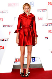 Lily Cole was a standout at the Creative Industries Reception wearing this iridescent red collared number.