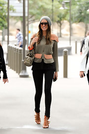 Louise Roe stylishly strolled through Sydney in cognac gladiator sandals.