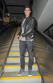 Siva Kaneswaran's classic grey jeans achieved the sexy slouchy look everyone aspires to.