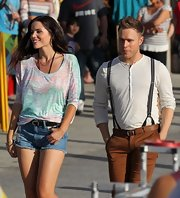 Olly Murs looked good in his music video wearing a white henley with suspenders.