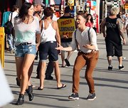 Olly Murs was spotted in Venice Boardwalk shooting a music video in a '50s-inspired henley and suspenders outfit with a pair of skinny pants.