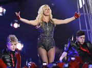 Britney Spears dazzled on stage in a leather zip-up bodysuit.