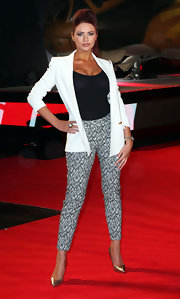 Amy Childs chose patterned skinny pants to make a statement on the red carpet of 'A Good Day to Die Hard.'