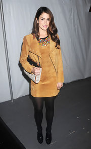 Nikki Reed wore this '70s suede dress to the Charlotte Ronson fashion show at NYFW.