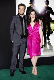 Lauren goes bold in a hot pink cocktail dress for the 'Green Hornet' premiere.