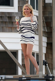 Cameron Diaz looked ready for a weekend at the beach when she sported this loose-weave cream and blue striped sweater.