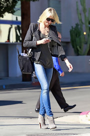 Cameron Diaz looked timelessly chic in LA wearing a cropped charcoal wool jacket.