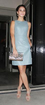 Cara Simmons wore a light gray leather dress to the AMCK Models Fashion Party.