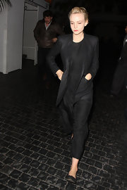 Carey Mulligan rocked a relaxed-fit black suit while out at Chateau Marmont.