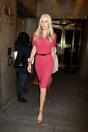 Aviva Drescher was seen walking on a pair of tan platform sandals.