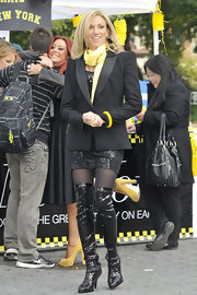 Debbie Gibson was spotted filming Celebrity Apprentice in a black blazer with bold shoulders.