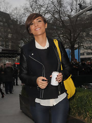 Frankie Sandford showed her classic and cool style with this wool and leather zip-up jacket.
