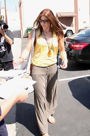 Hope Solo opted for a boho vibe outside dance rehearsals for 'DWTS' in a taupe button-down maxi skirt.