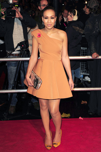 Rebecca Ferguson is flawless in Kurt Geiger Fashionistas Corso Como Pumps. The marigold hued heels were the perfect shoe for the X Factor's flirty frock.