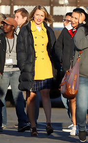 Dianna Agron was a ray of sunshine on the set of 'Glee' in a lemon yellow double-breasted coat.