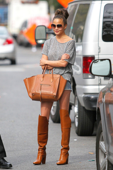 More Pics of Chrissy Teigen Knee High Boots (1 of 10) - Chrissy Teigen Lookbook - StyleBistro
