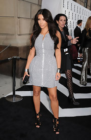 Kim Kardashian arrived at E! Upfront in a simple day dress and  pair of black cutout booties.