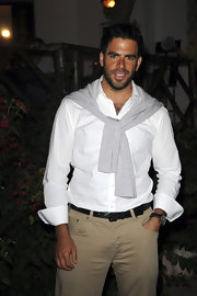 Eli Roth went for a fresh summer look with a crisp white button-down and chinos.