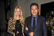 Comedian David Walliams and wife Lara Stone leave Scott's restaurant in London in good spirits.