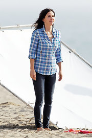 Courteney Cox looked cool and casual in a blue plaid button down while filming 'Cougar Town.'