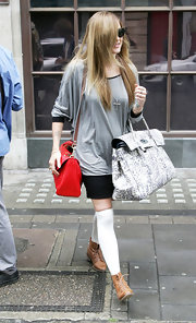 Fearne showed off her large tote bag while leaving Radio One studios.