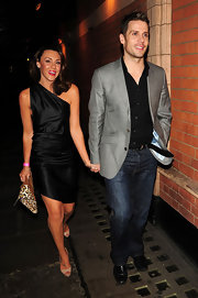Michelle Heaton was out at the Palace Theater wearing a luxe satin dress.