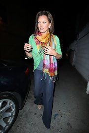 Vanessa brightens up winter with a brilliantly colored scarf out in Hollywood.